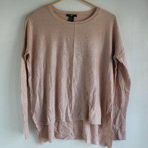 H&M Sz XS Beige/Tan Oversize Tunic Sweater Hi-low
